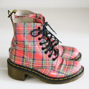 Dr Martens Red tartan Plaid Leather Booties